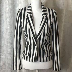 H&M Black & White Striped Blazer